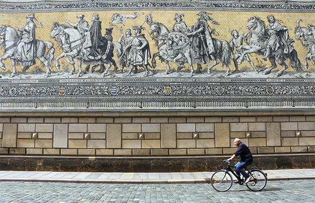 Os detalhes do mural Fürstenzug, em Dresden