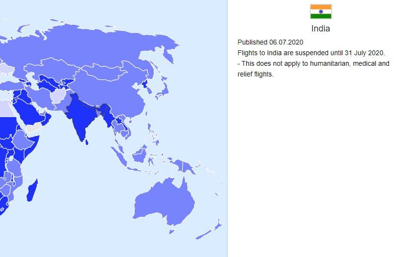 Mapa de viagens pós-pandemia